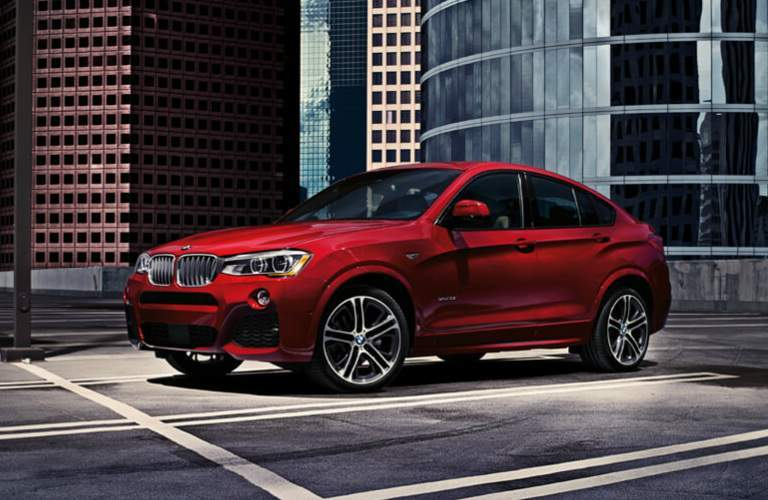 Side View of Red 2018 BMW X4