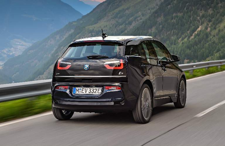 Black 2018 BMW i3 Driving on a Mountain Road