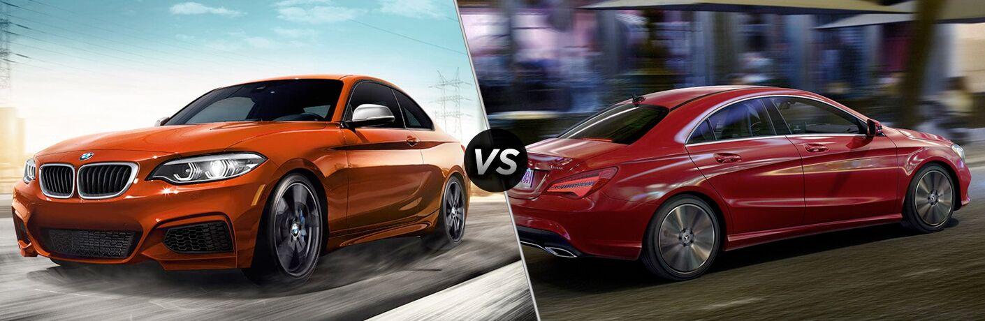Orange 2019 BMW 2 Series, VS icon, and red 2019 Mercedes-Benz CLA