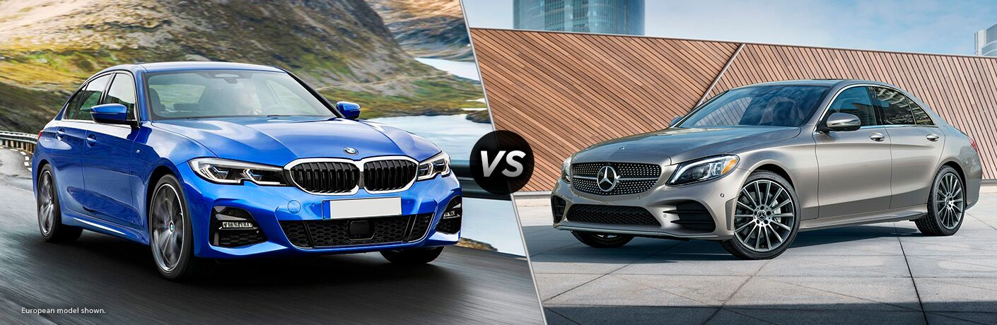 Blue 2019 BMW 3 Series, VS icon, and grey 2019 Mercedes-Benz C-Class
