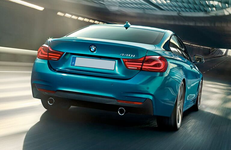Rear view of blue 2019 BMW 4 Series