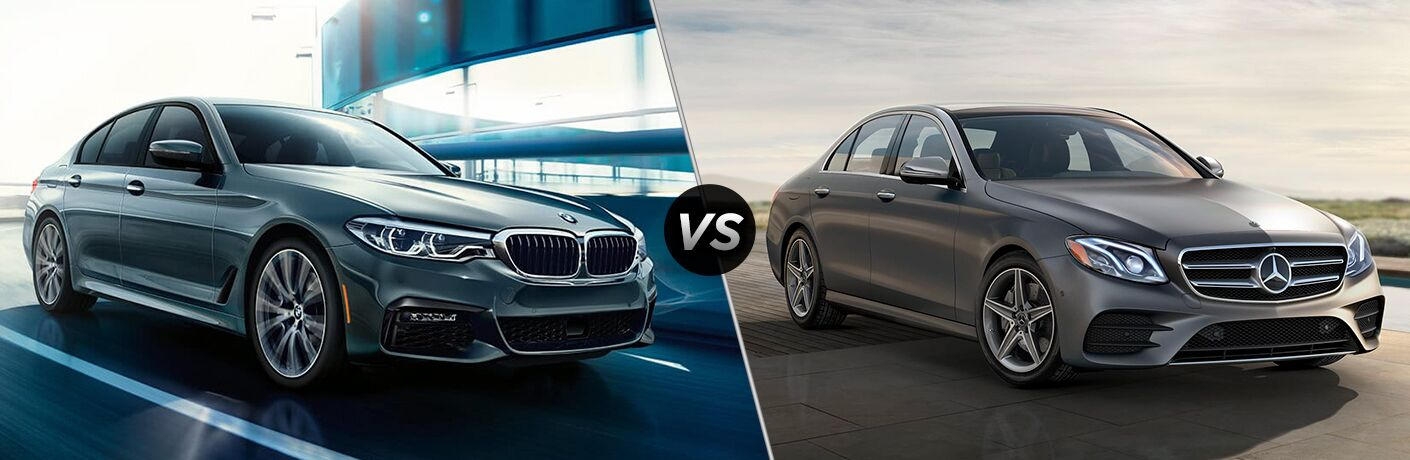Blue 2019 BMW 5 Series, VS icon, and grey 2019 Mercedes-Benz E-Class