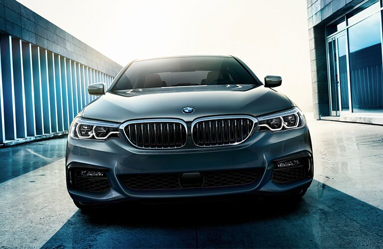 Front view of blue 2019 BMW 5 Series