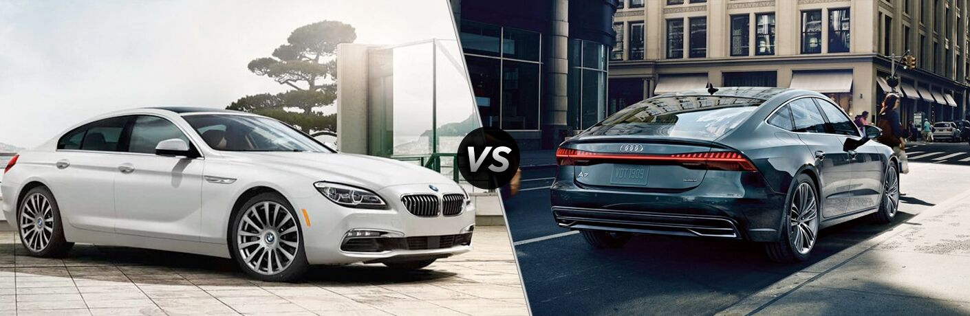 White 2019 BMW 6 Series, VS icon, and blue 2019 Audi A7