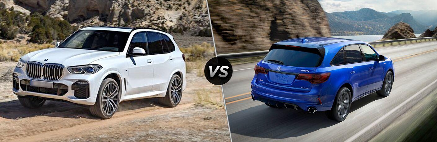 White 2019 BMW X5, VS icon, and blue 2019 Acura MDX