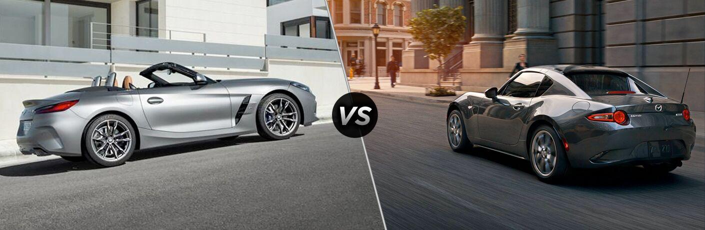 Silver 2019 BMW Z4, VS icon, and grey 2019 Mazda MX-5 Miata RF