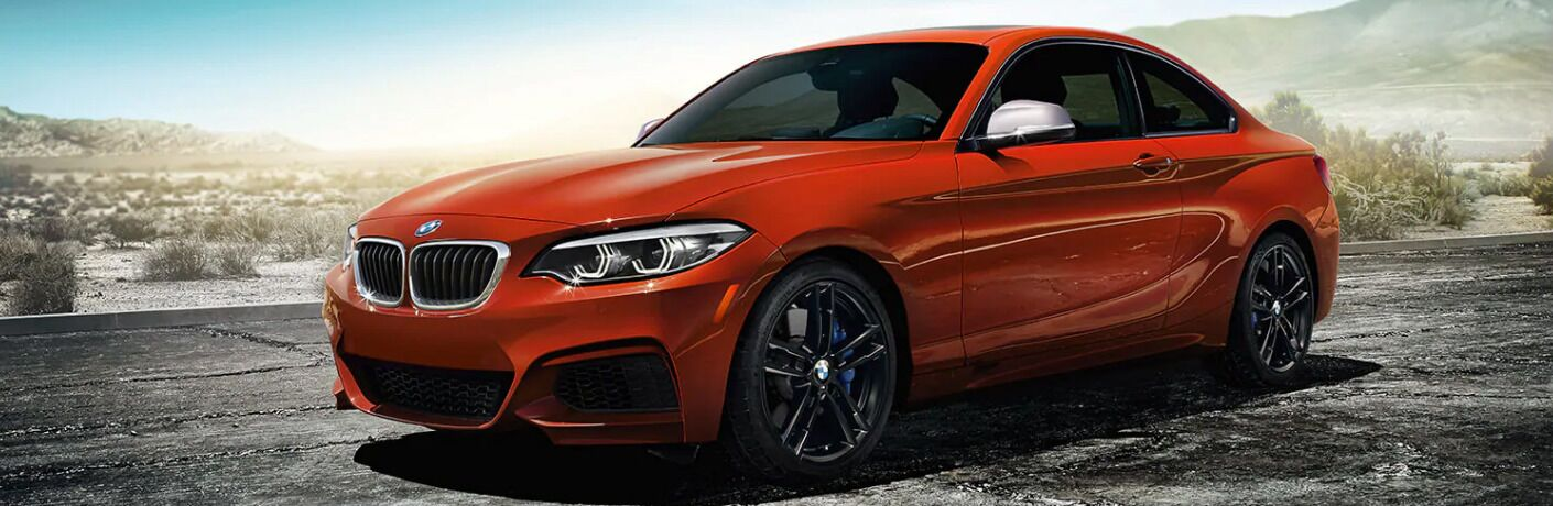 Red 2019 BMW 2 Series with Mountains in the Background