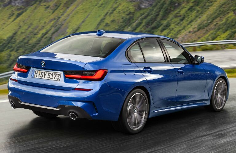 Rear View of Blue 2019 BMW 3 Series