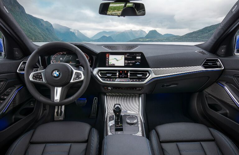 Dashboard and Front Black Seats in 2019 BMW 3 Series