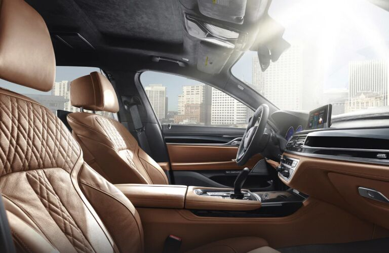 Dashboard and Brown Front Seats of 2019 BMW 7 Series