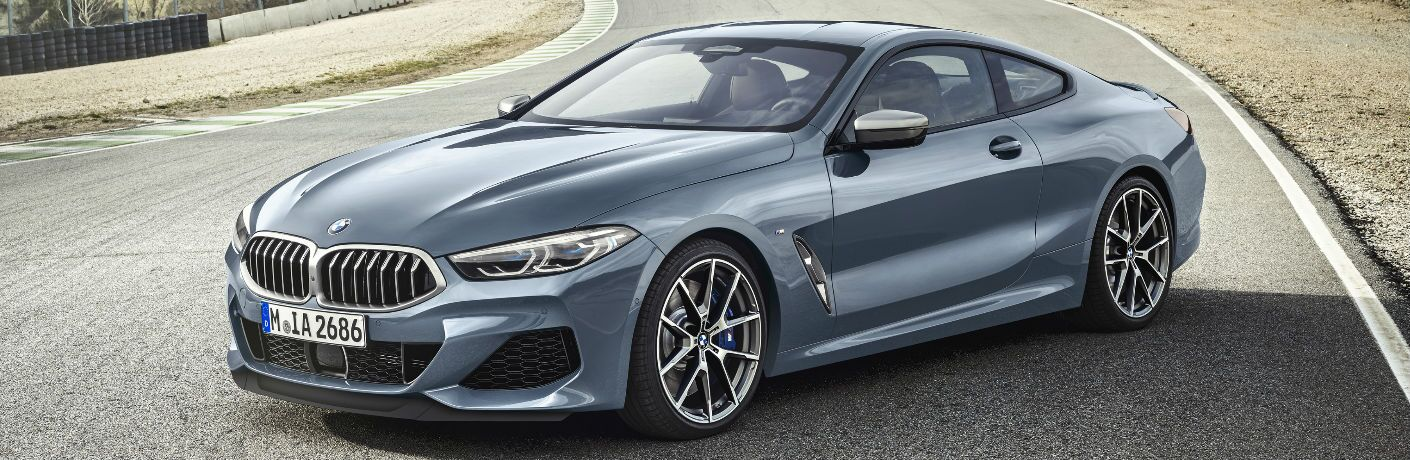Side View of Grey 2019 BMW 8 Series Coupe