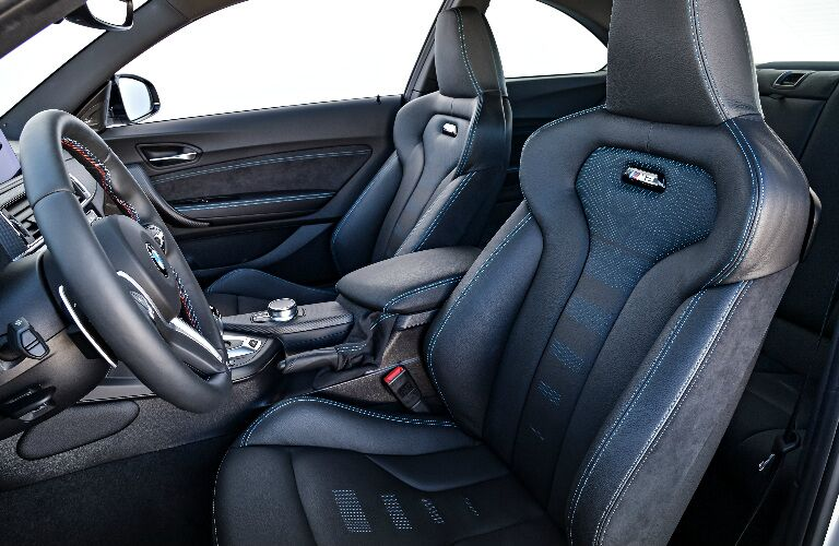 Steering Wheel and Dark Grey Seats in 2019 BMW M2 Competition