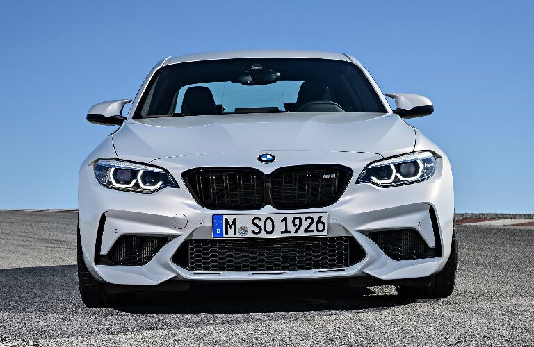 Front View of White 2019 BMW M2 Competition