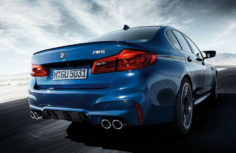 Rear View of Blue 2019 BMW M5