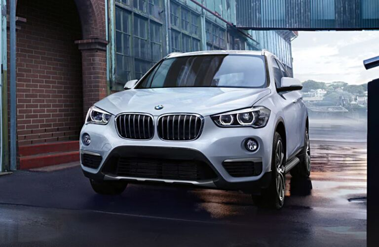 Front view of white 2019 BMW X1