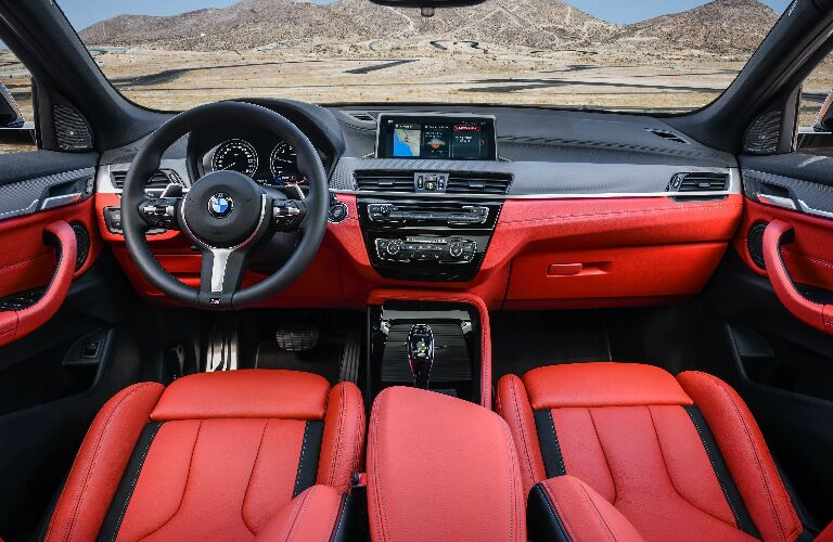 Dashboard and Red and Black Seats in 2019 BMW X2 M35i