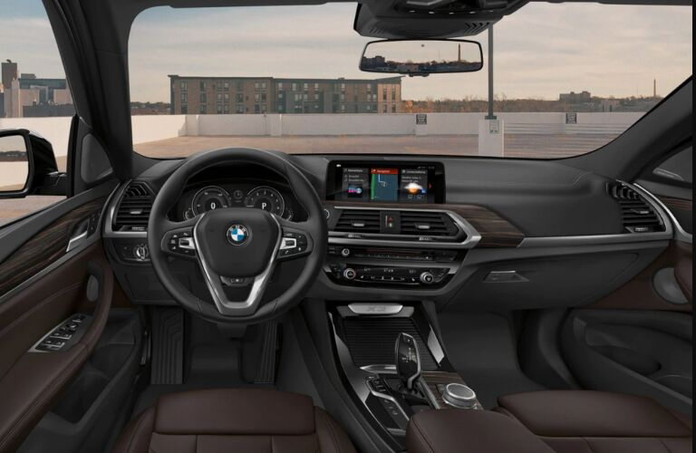 Dashboard and Front Brown Seats of 2019 BMW X3