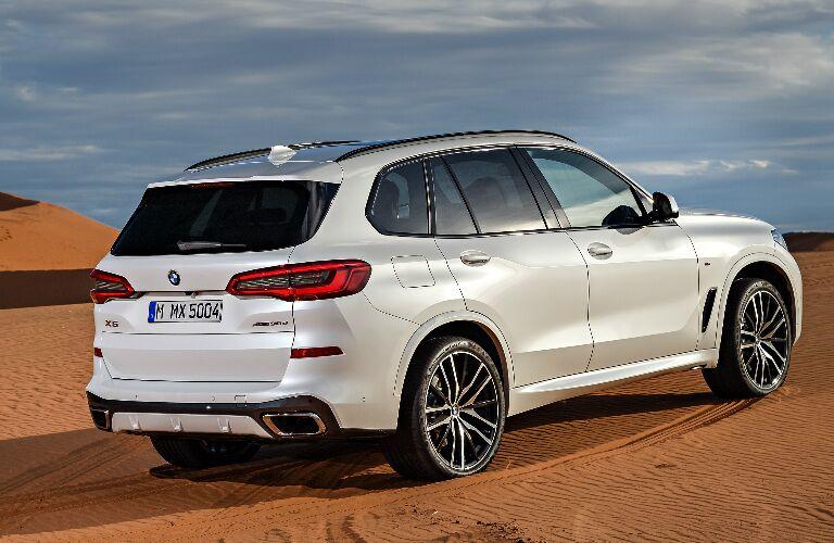Rear View of White 2019 BMW X5