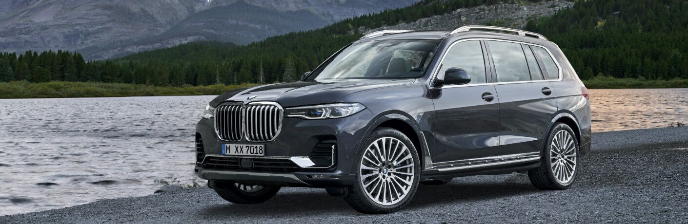 Grey 2019 BMW X7 Parked near a Lake