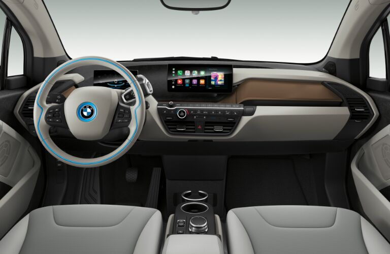 Dashboard and Light Grey Front Seats in 2019 BMW i3