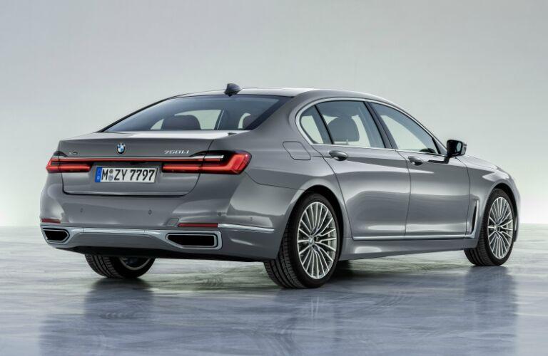 Rear view of grey 2020 BMW 7 Series