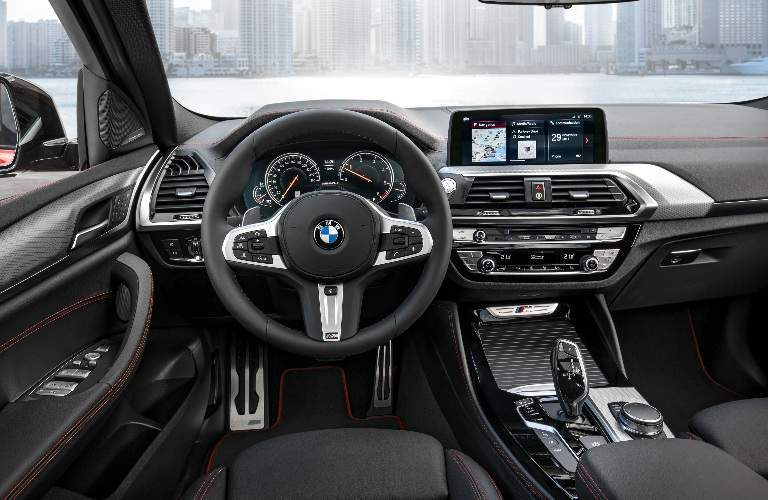 Dashboard and Black Front Seats of 2019 BMW X4