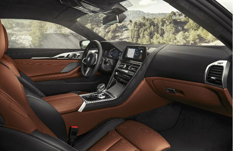Dashboard and Brown and Grey Seats of 2019 BMW 8 Series Coupe