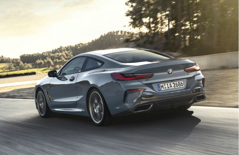 Rear View of Grey 2019 BMW 8 Series Coupe