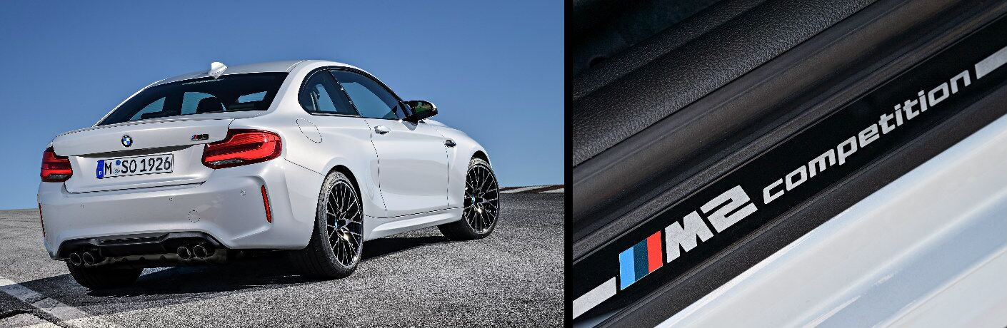White 2019 BMW M2 Competition and M2 Competition Logo
