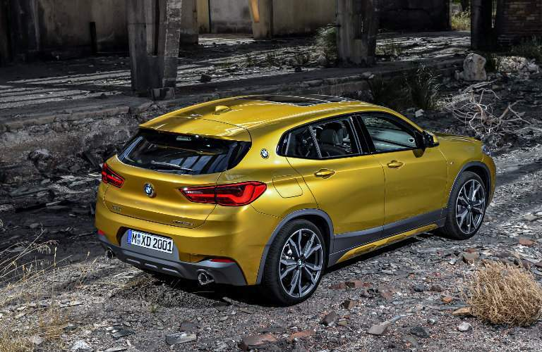 Yellow 2018 BMW X2 in an Abandoned Building