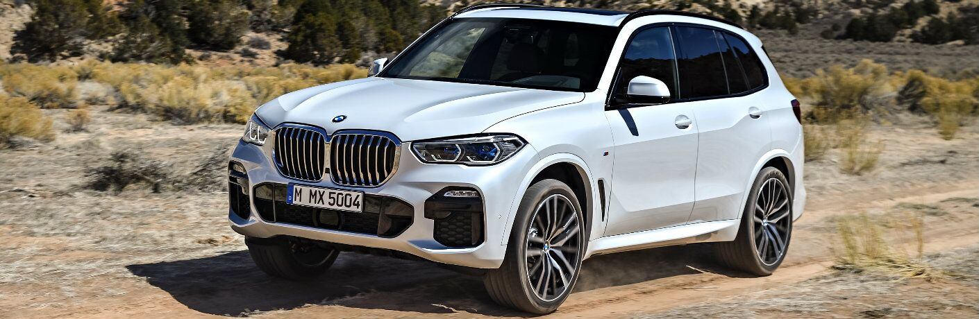 White 2019 BMW X5 Driving on a Desert Road