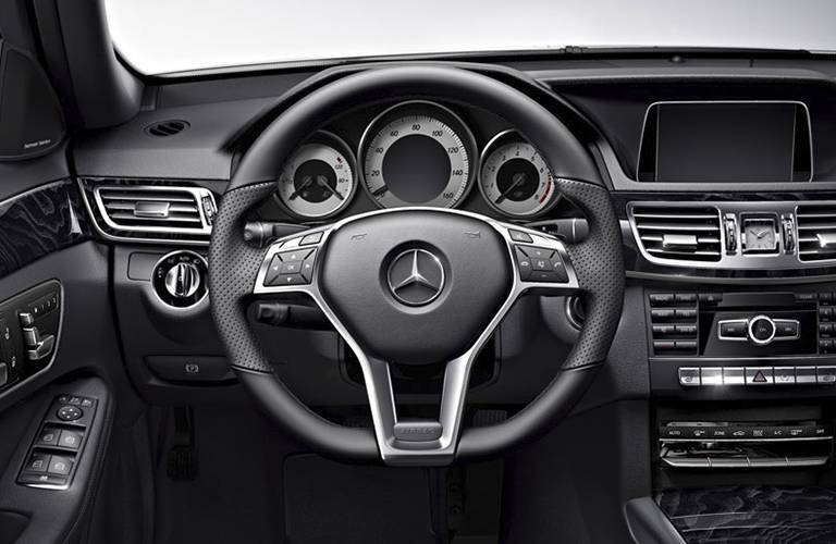 Steering wheel and dashboard view of the 2016 Mercedes-Benz E-Class