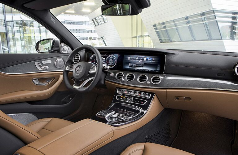 caramel interior of the 2017 Mercedes-Benz E-Class