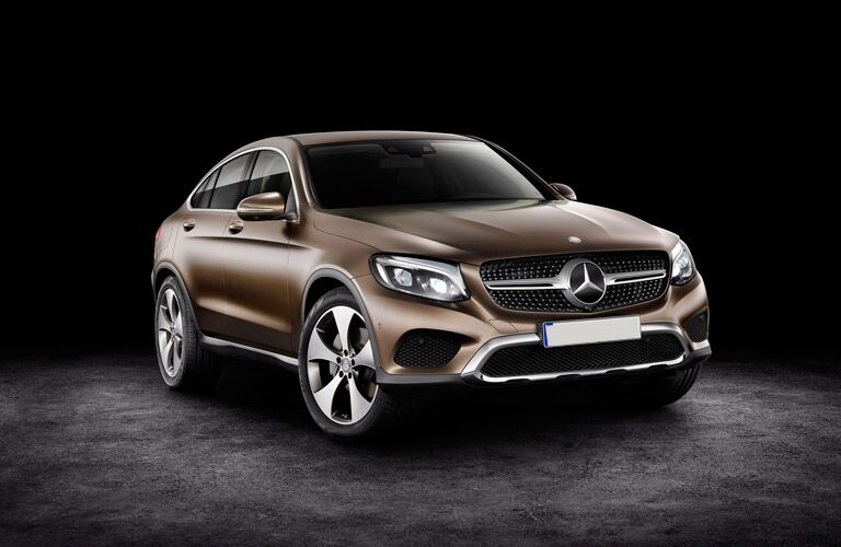 2017 mercedes-benz glc-coupe parked in a black room