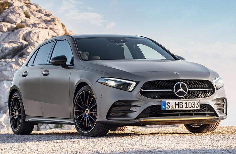 front and side view of a 2019 Mercedes-Benz A-Class hatchback