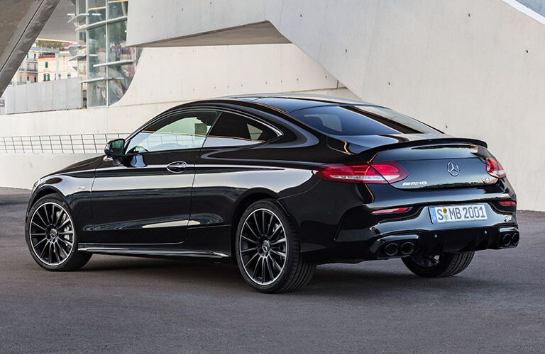 rear three quarter shot of 2019 mercedes-benz c-class coupe