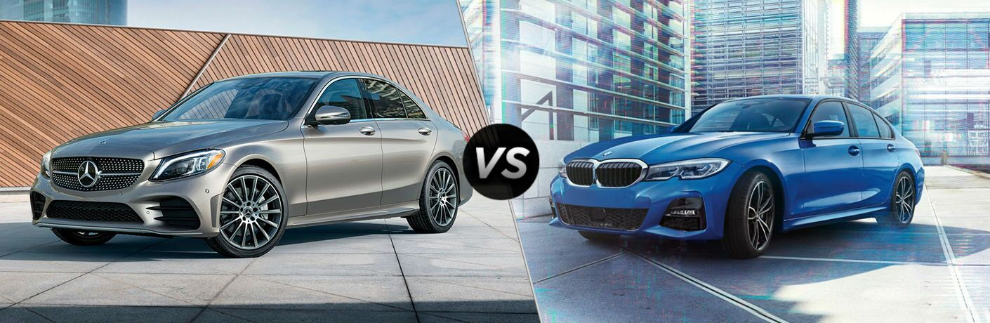 2019 Mercedes-Benz C-Class Vs. 2019 BMW 3 Series split screen image comparison