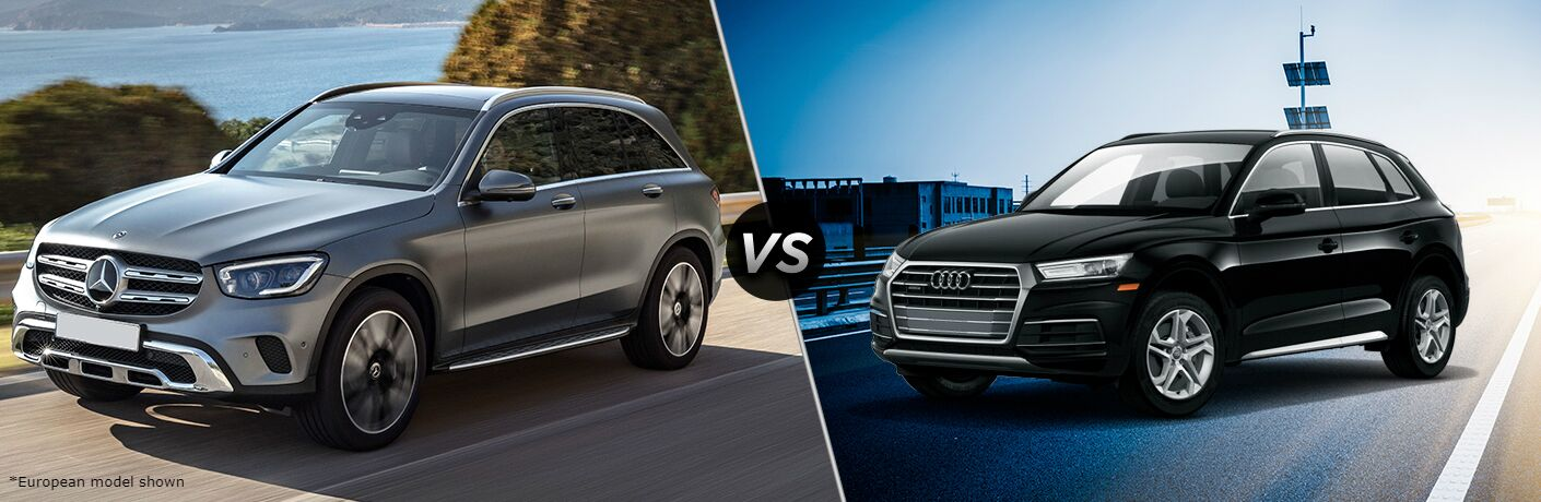 2020 Mercedes-Benz GLC Vs. 2020 Audi Q5 shown side by side in comparison