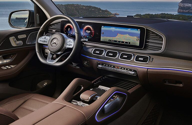 interior of 2020 mercedes-benz gls SUV with dual screens