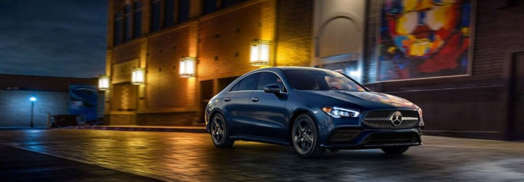 2021 Mercedes-Benz CLA Coupe on city street at night