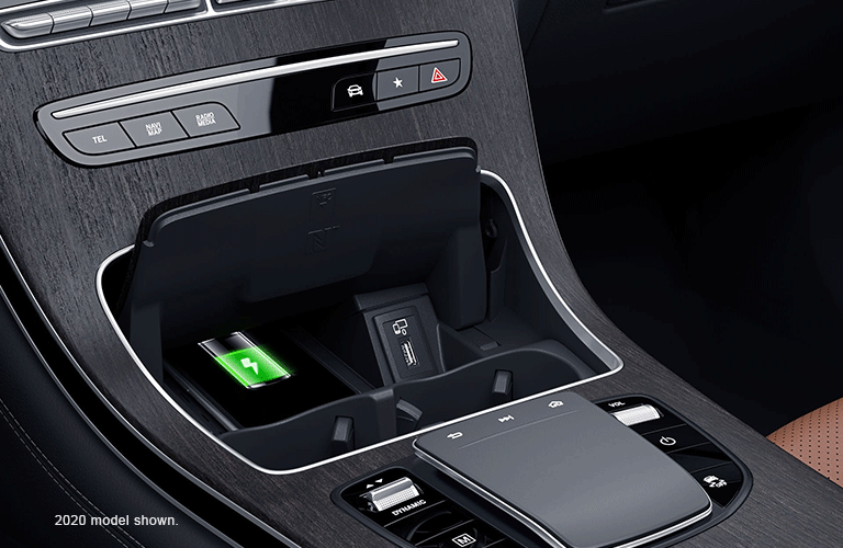 2020 Mercedes-Benz GLC center console with wireless charging pad
