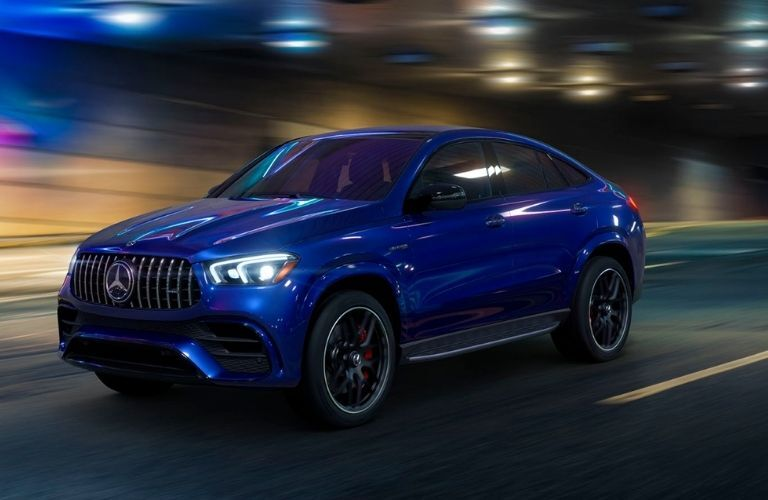 2021 Mercedes-Benz GLE Coupe on city street at night