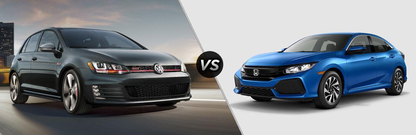A side-by-side comparison of the 2018 Volkswagen Golf GTI vs. 2018 Honda Civic Hatchback.