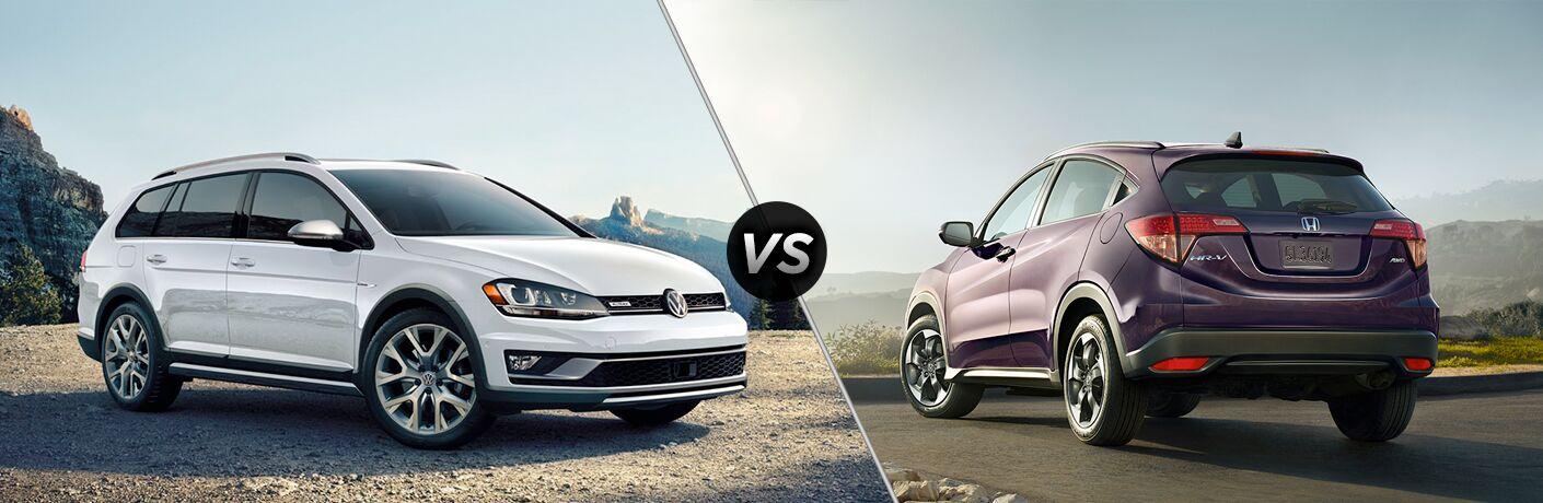 A side-by-side comparison of the 2018 Volkswagen Golf Alltrack vs. 2018 Honda HR-V