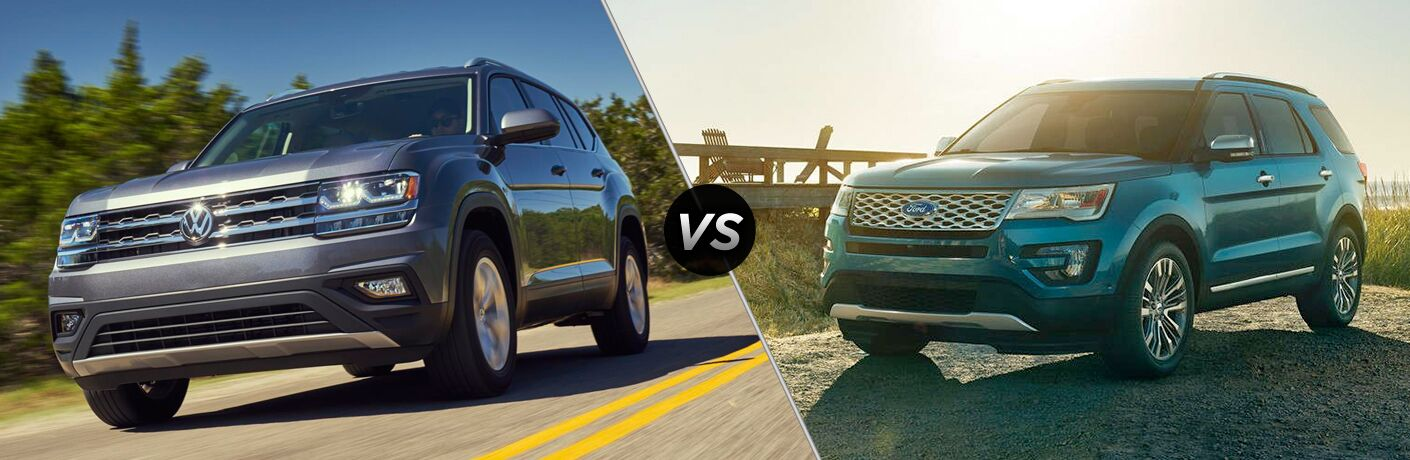 A side-by-side comparison of the 2018 Volkswagen Atlas vs. 2018 Ford Explorer