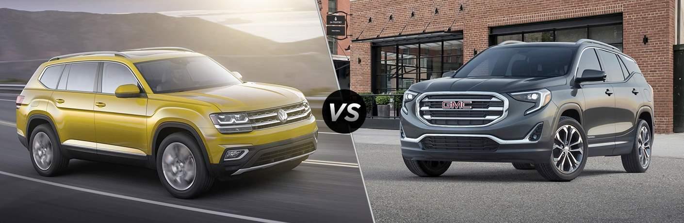 A side-by-side comparison of the 2018 Volkswagen Atlas vs. 2018 GMC Terrain