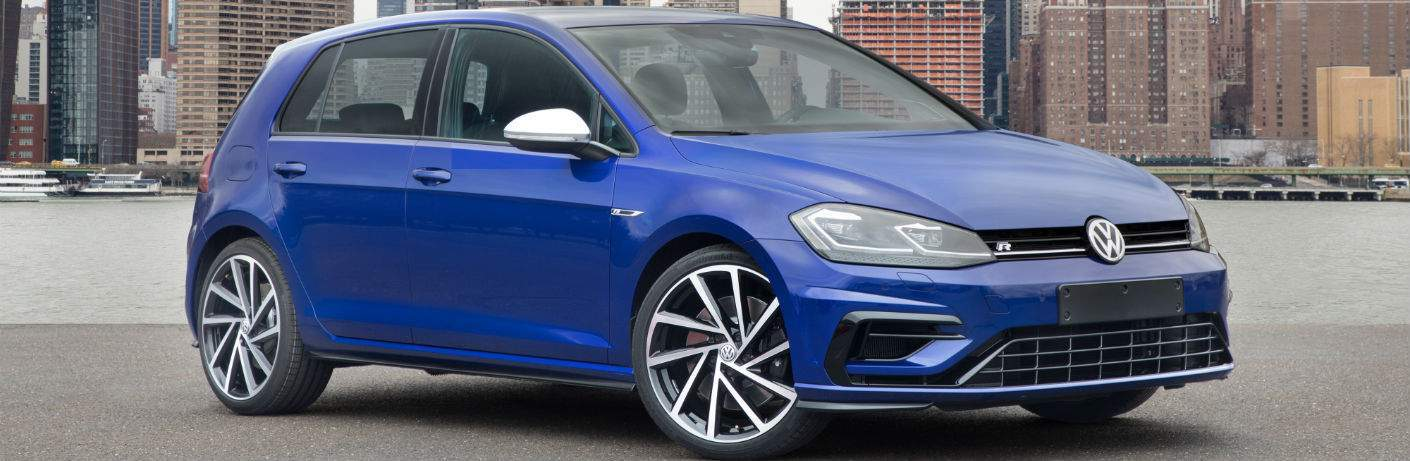 Blue 2018 Volkswagen Golf R in Amherst, OH showing from right corner