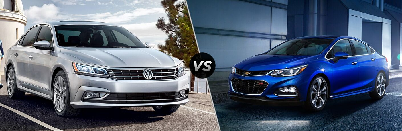 A side-by-side comparison of the 2018 Volkswagen Passat vs. 2018 Chevy Cruze.