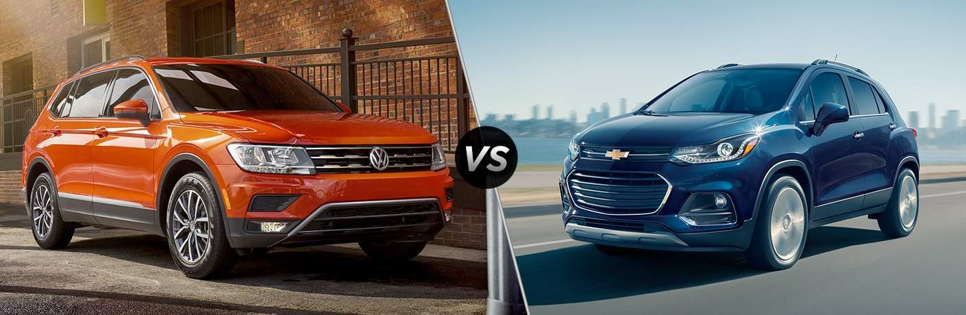 A side-by-side comparison of the 2018 Volkswagen Tiguan vs. 2018 Chevy Trax