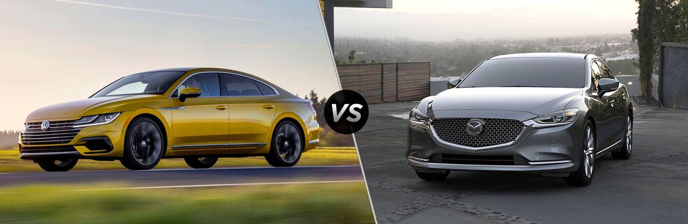 A side-by-side comparison of the 2019 Volkswagen Arteon vs. 2018 Mazda6.